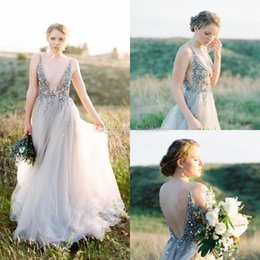 $enCountryForm.capitalKeyWord Australia - new berta country prom dresses 2019 top bling sequins beaded summer holiday formal long evening gowns low back tulle silver reception gown