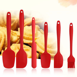 christmas spatulas 2020 - Silicone Pastry Spatula Set 6 Piece Set Non-Stick Rubber Spatula Set Heat-Resistant Spatula Kitchen Utensils Set Baking