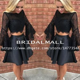 White Long Sleeve Short Satin Dress Australia - Black Satin Two Pieces Prom Dresses 2019 Simple Beaded Lace Long Sleeve Sweet 16 Girl Homecoming Dress Mini Short Cocktail Party Dress Cheap