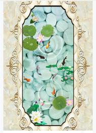 $enCountryForm.capitalKeyWord Australia - Custom 3D PVC self-adhesive floor photo mural wallpaper Marble pattern soft pack lotus nine fish bedroom 3D waterproof floor tiles