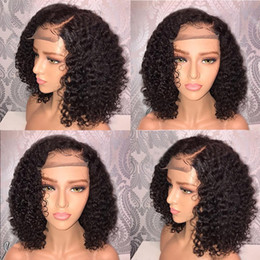 women human hair wig Canada - Curly Human Hair Wig Brazilian Less Lace Front For Black Full Wig Bob Wave Black Natural Looking Women Wigs Hair Jewelry10.8 Y19051302