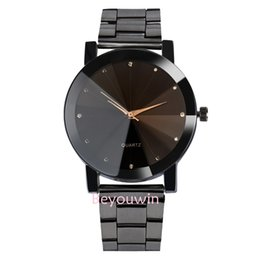 $enCountryForm.capitalKeyWord Australia - 100pcs lot fashion man black belt alloy watch no logo meridian line casual quartz wrist watch for couple
