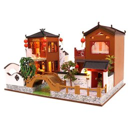 genuine puzzle UK - Wooden Toy Diy Dollhouse Miniature Dollhouse Handmade Doll House Furniture Puzzle Assemble 3D Miniaturas Model Kit Toys for Ch