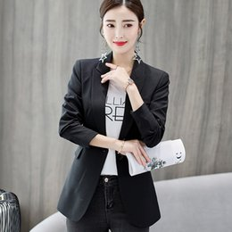 Winter Suit Styles Women NZ - New 2018 Autumn Winter Korean Style Fashion Women Blazer Suits Casual Black Sky Blue Long Sleeve Female Blazers Elegant Clothes #408753