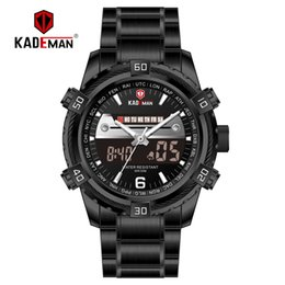 Dual Luxury Watches Australia - KADEMAN New Fashion Men Watch Dual Display Digital Watch Sports Man Waterproof Luxury Stainless Steel TOP Brand Quality