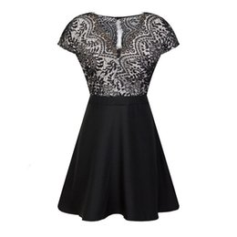 Sexy fall clothing online shopping - Women S Clothing Party Dresses Fall New Lace Cut Short Sleeve Trim Designer Dress Body Splice Sexy V Collar Lady Dress