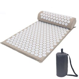 spike mat UK - Massager Cushion Lotus Acupressure Mats Pillow Yoga Mats Relieve Back Pain Spike Mat Head Neck Foot Anti-stress Needle Massager