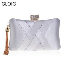White bridal clutches online shopping - GLOIG Fashion Lady Small Tassel Day Clutches Crystal Luxurious Wedding Bridal Purse Chain Shoulder Handbags Dinner Evening Bags