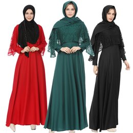 $enCountryForm.capitalKeyWord NZ - Elegant Adult Muslim Abaya Women Dresses Clothing Long Sleeve Islamic Fashion Muslim Maxi Long Chiffon Lace Dress Robes