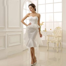 $enCountryForm.capitalKeyWord Australia - Mermaid wedding dresses sleeveless short skirt sexy lace bride dresses hot sell backless floral embellished bridal gown De Mariee