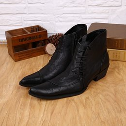 Military Style Shoes Australia - 2019 Western Style Mens Ankle Low Cowboy Boots Pointed toe lace up Black high top Men Boots Military Work Boots Men Shoes