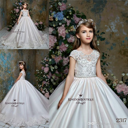 Discount green wedding dresses arabic style Newest Lace Sheer Neck Tulle Arabic Style Flower Girl Dresses Vintage Girl Tutu Pageant Dresses Formal Flower Girl Dress