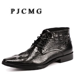 new shoes pattern for men 2019 - PJCMG New Spring Autumn Men Genuine Leather Lace-Up Pointed Toe Black Red Bullock Patterns Oxford Dress Shoes For Men Bo