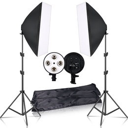 soft light box photography UK - Professional Photography 50x70CM Lighting Four Lamps Softbox Kit With E27 Base Holder Soft Box Camera Accessories For Photo Studio Vedio