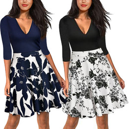 Discount swing dress short skirt - Splicing Dress Sexy V Neck Cropped Sleeves Vintage Swing Skirt Solid Color Short Sleeved Printed Pullover Dress Simple 4