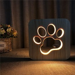 Discount wooden desk lamps - Wooden Dog Paw Cat Animal Night Light French Bulldog Luminaria 3d Lamp Usb Powered Desk Lights For Baby Christmas New Ye
