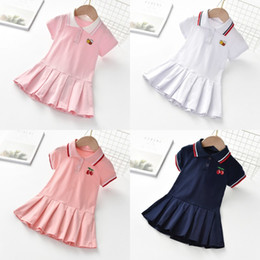 Wholesale clothing lines resale online - Kids Girl Lace Lapel Collar Embroidery Bee Short Sleeve Dress Kids Elegant Summer Baby Girl Designer Clothes