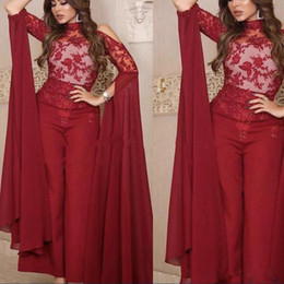 $enCountryForm.capitalKeyWord Australia - New Long Sleeve Dark Red Jumpsuit Prom Dresses High Neck Appliques African Formal Evening Gowns Abenkleider Celebrity Dress Cocktail Party