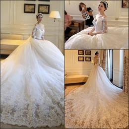 $enCountryForm.capitalKeyWord UK - 2019 new Full Lace Wedding Dresses Amazing Luxury Chapel Train Dubai Arabic V-neck Off-shoulder Long Sleeve Berta Wedding Gowns 337