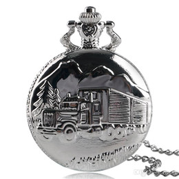 $enCountryForm.capitalKeyWord NZ - Modern Truck Lorry Pattern Pocket Watch Fashion Silver Quartz Necklace Pendant Chain for Men Women Simple Style Clock