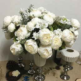 $enCountryForm.capitalKeyWord Australia - Simulation Peony Bunch Artificial Flowers For Home Table Wedding Decoration Flores Artificiales Silk White Peonies Fake Flower