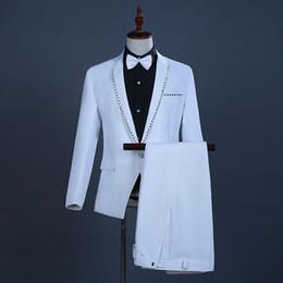 $enCountryForm.capitalKeyWord Australia - 18th Century White European Court Wedding Suits Sequins Nightclub Singer Performance Clothing Costumes For Men(Jacket+Pants)