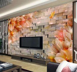 Dream houses online shopping - 3D brick wall jade carving dream flower TV background wall modern living room wallpapers