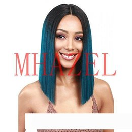 glueless middle part bob wigs Canada - short bob straight ombre 1b# pelucas peacock blue middle part synthetic lace front wig glueless 14inch f