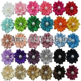 Baby Satin Hair Clips Australia - Wholesale- Free Shipping 150pcs lot DIY Flower WITHOUT CLIPS Satin Ribbon Multilayers Flowers With Pearl Baby Girl's Hair Accessories