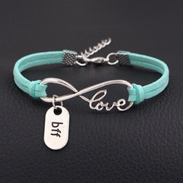 InfInIty frIends jewelry online shopping - Silver Infinity Love Boy Friend Forever BFF Pendant Bracelets Personalized Green Leather Suede Rope Jewelry for Women Men Best Birthday Gift