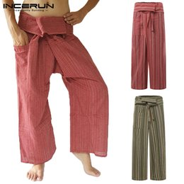 Yoga Pants Men Loose NZ - INCERUN Men Thai Fisherman Pants Striped Cotton Vintage Loose Casual Wide Leg Yoga-pants Pockets Joggers Trousers Men 2019 S-5XL