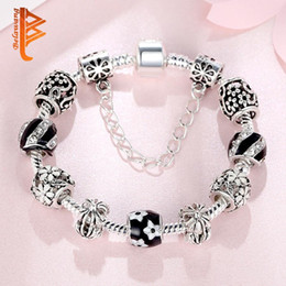 TibeTan snake charms online shopping - Nlm99 Authentic Tibetan Silver Field of Daisy Flower Charm Bracelet Fit Bracelets Bangles for Women Jewelry Gift cm