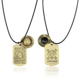 Pendants Anime One Piece Australia - Anime One Piece Cosplay Necklace Straw Hat Luffy Animation Alloy Pendant Men Women Hat And Skull Logo Dog Tag Pendant Necklace