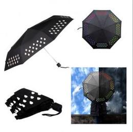 Gouttes de pluie changeant de parapluies Gradient arc-en-ciel changeant de couleur quand l'eau rencontre des parapluies de pluie de voyage en plein air OOA6147 en Solde