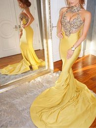 Wholesale 2019 New Yellow Mermaid Prom Dresses Sweep Strain Sleeveless High Neck Formal Evening Dress Party Gowns Custom Made Plus Size
