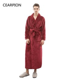 long warm robes Australia - CEARPION Flannel Winter Thick Warm Robe Men Solid Color Night Dressing Male Casual Kimono Bathrobe Gown Long Sleeve Negligee