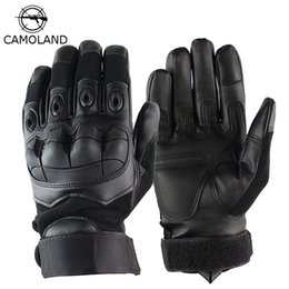 Wholesale military winter gloves resale online - Men Gloves Winter Full finger Army Tactical Outdoor Gloves Military Combat Slip resistant Paintball Shooting Leather Gloves Y200110