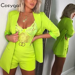 long vest tops for women NZ - Official New Long Sleeve Two Piece Set Top And Shorts Summer Clothes For Women 2019 Nightclub 2 Piece Set Women Set Outfits