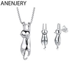 $enCountryForm.capitalKeyWord Australia - ANENJERY 925 Sterling Silver Jewelry Sets Lovely Animal Cat Necklace+Earrings For Women Girl Gift
