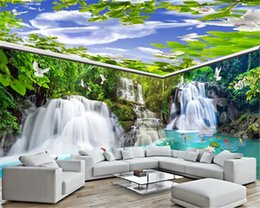 Wedding pigeons online shopping - 3d Wallpaper Living Room Custom Whole House Background Wall Painting Waterfall Flowing Forest Crane Crane White Pigeon