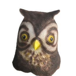 Birds Mask Australia - Cute Owl Latex Mask Full Head Halloween Animal Bird Minerva Rubber Masks Masquerade Cosplay Party Costume Props Adult Size