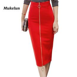 d2b3b1bbc2 2018 Women Sexy Office Skirt Plus Size Casual High Waist Mid Calf Long  Elegant Stretch Zipper Bodycon Red Pencil Skirts S-5xl Y19043002