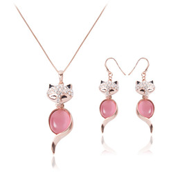 crystals rhinestones wholesale Australia - Cute Fox Crystal Pendant Earrings Necklaces Sweet Opal Rhinestone Jewelry Set for Women Wedding Party Jewelry