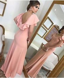 $enCountryForm.capitalKeyWord Australia - Pink Open Back Long Evening Dress 2019 Elegant Ruffles Short Sleeved Prom Gowns Sexy Slit Mermaid Formal Party Dress