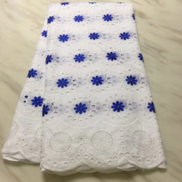 cotton lace for sale Australia - 5Yards Hot sale white african cotton fabric with royal blue flower swiss voile lace embroidery for dress BC37-5