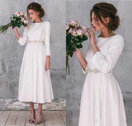 Summer beach wedding dreSSeS online shopping - Vintage Stain A Line Wedding Dresses Bohemia Beach Tea Length Bridal Gowns Beaded Sash Long Sleeves Formal Party Dress