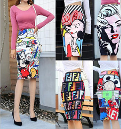 Womens Cartoon Letter Print High Waist Tight Slim Knee Pencil Skirts 2020 Summer Casual Cartoon Design Slim Girls Vintage Hip Skirt Mujer