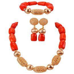 $enCountryForm.capitalKeyWord NZ - Cute African Coral Beads Jewelry Set for Women Nigerian Wedding Necklace Bridal Jewelry Sets CBS41