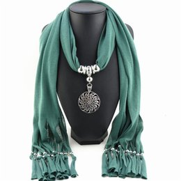 $enCountryForm.capitalKeyWord Australia - wholesale Vintage Flower Pendant Necklace Charm Polyester Scarf Necklace Women Solid Winter Christmas Scarves Jewelry Collana Donna