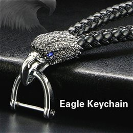 metal eagle Australia - Eagle Bird Keyrings Crystal KeyChains Woven Leather Rope For Car Men Alloy Metal Detachable Key Chain Holder